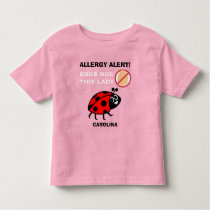 Egg Allergy Alert Ladybug Girls Personalized Toddler T-shirt