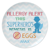 Egg Allergy Alert Superhero Boy Personalized Plate