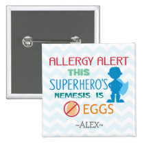 Egg Allergy Alert Superhero Boy Silhouette Pinback Button