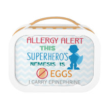 Egg Allergy Alert Superhero Boys Personalized Lunch Box