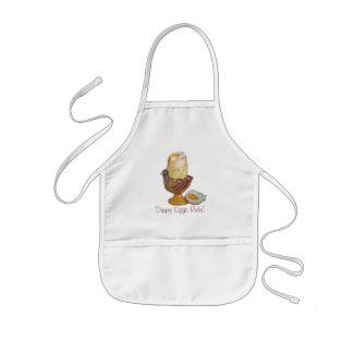 Egg and chicken eggcup with yellow dippy yoke kids' apron