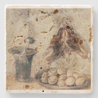 Egg and Poultry Still Life from Pompeii Stone Coaster