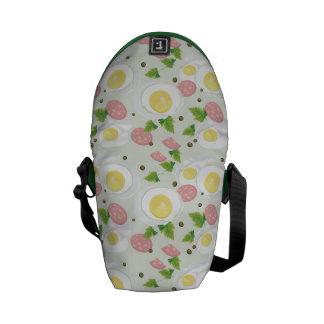 Egg and Sausage Pattern Messenger Bag