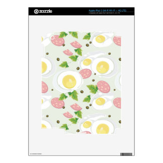 Egg and Sausage Pattern Skin For iPad 3