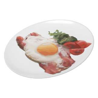 Egg & bacon with salad and tomatoes melamine plate