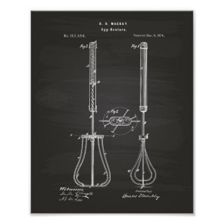 Egg Beaters 1874 Patent Art - Chalkboard Poster