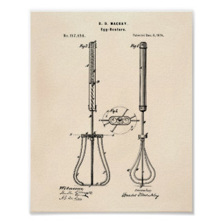 Egg Beaters 1874 Patent Art - Old Peper Poster