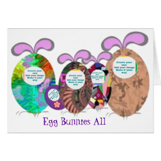 Egg Bunnies family add your photo Greeting Card