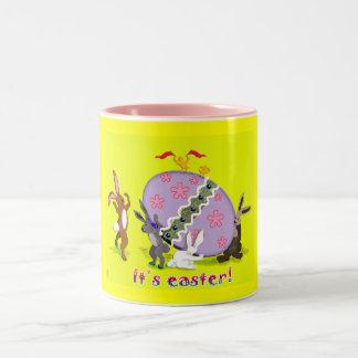 egg bunnies Two-Tone coffee mug