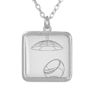 egg chair square pendant necklace