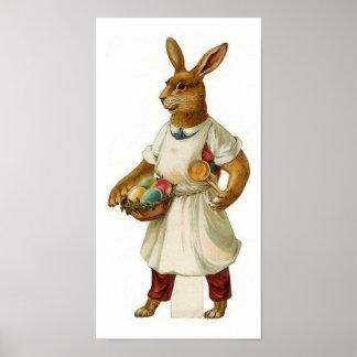 Egg Cook Vintage Easter Bunny Poster