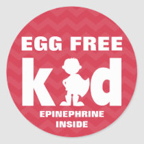 Egg Free Egg Allergy Superhero Boy Epinephrine Classic Round Sticker