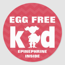 Egg Free Egg Allergy Superhero Girl Epinephrine Classic Round Sticker