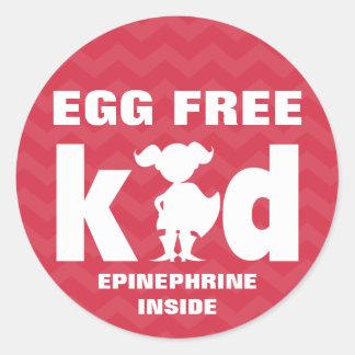 Egg Free Egg Allergy Superhero Girl Epinephrine Classic Round Sticker