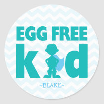 Egg Free Kid Superhero Boy Allergy Stickers