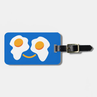 Egg happy face luggage tag