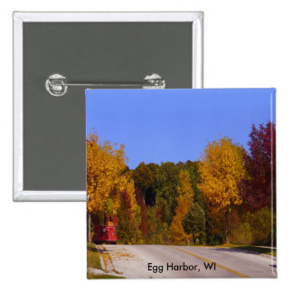 Egg Harbor, WI Fall Season with Trolley Car Pinback Buttons