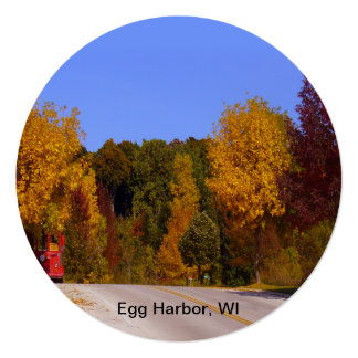 Egg Harbor, WI Fall Season with Trolley Car Personalized Invitation