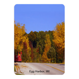 Egg Harbor, WI Fall Season with Trolley Car Personalized Invite