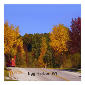 Egg Harbor, WI Fall Season with Trolley Car Personalized Invitations