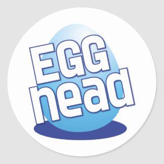 egg head easter bald funny round stickers