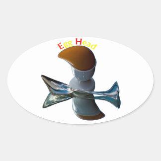 Egg Head Quirky Designs Oval Sticker