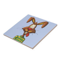 egg mad easter bunny funny cartoon drawing tile