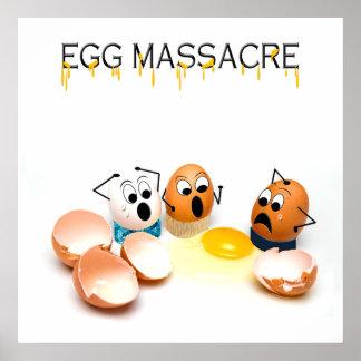 Egg Massacre Humorous Poster - Cracked Eggs