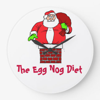 Egg Nog Diet Santa Clause Humor Joke Clocks