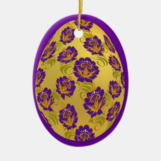 Egg Ornament - Flower Pattern - 3
