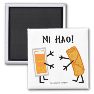 Egg Roll & Duck Sauce - Ni Hao! 2 Inch Square Magnet