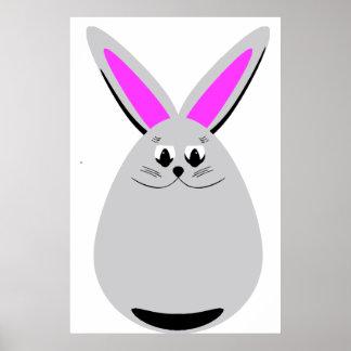 Egg Shaped Bunny Rabbit Poster