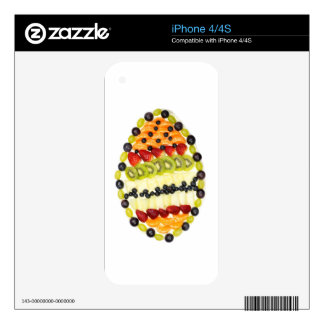 Egg shaped fruit pie with various fruits decals for iPhone 4