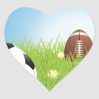 Egg Shaped Sport Balls 2 Heart Sticker