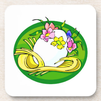 egg with flower tiara green oval.png beverage coaster