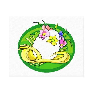 egg with flower tiara green oval.png canvas print