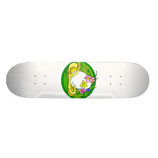 egg with flower tiara green oval.png custom skateboard