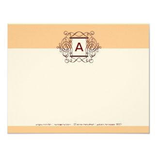 Eggnog Cherry Fancy Frame Monogram Note Cards
