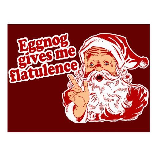 Eggnog Gives Santa Flatulence Postcard