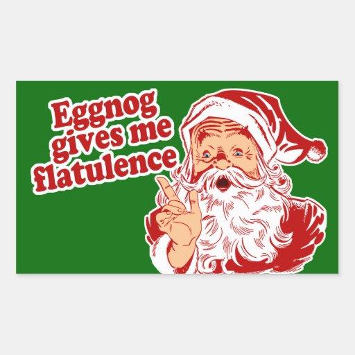 Eggnog Gives Santa Flatulence Rectangular Sticker