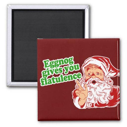 Eggnog Makes Santa Fart Fridge Magnets