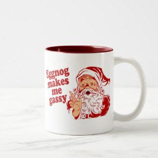 Eggnog Makes Santa Gassy Two-Tone Coffee Mug