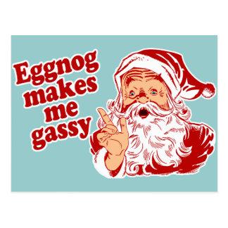 Eggnog Makes Santa Gassy Postcard