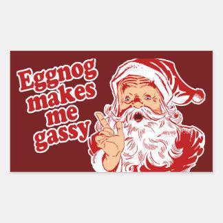 Eggnog Makes Santa Gassy Rectangle Stickers
