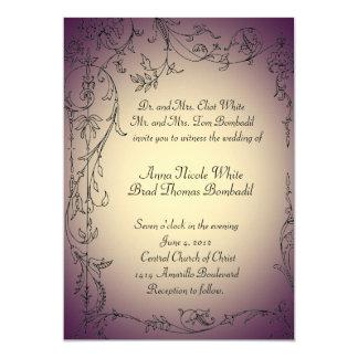 Eggplant and Gold Tint Wedding Invitation