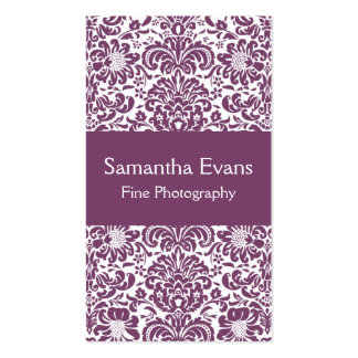 Eggplant and White Damask Business Card