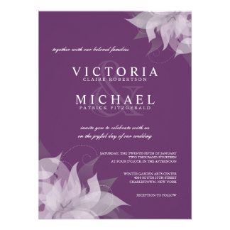 Eggplant and White Floral Wedding Invitations