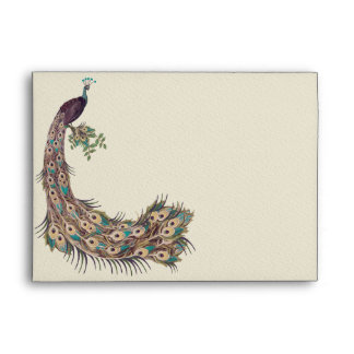 """Eggplant Aqua and Gold Peacock Vintage 3 Feathers Envelope"