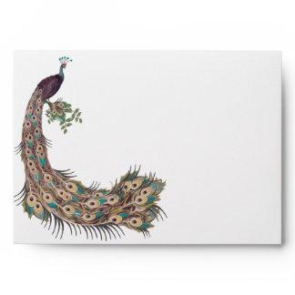 """Eggplant Aqua and Gold Peacock Vintage 3 Feathers Envelope"
