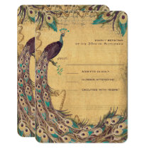 Eggplant Aqua  Peacock Vintage 3 Feathers Card